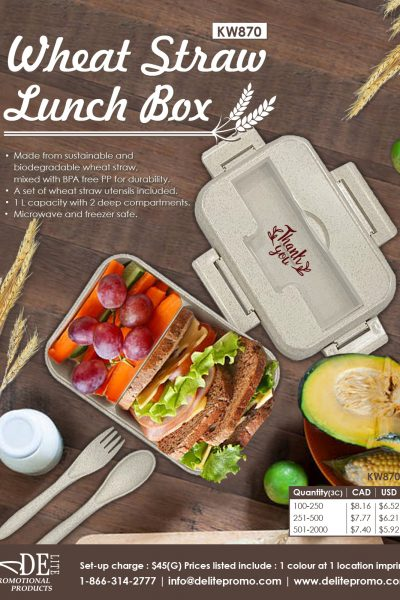 0501 WHEAT STRAW LUNCH BOX-L