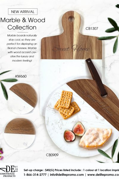 marble and wood coaster board-L